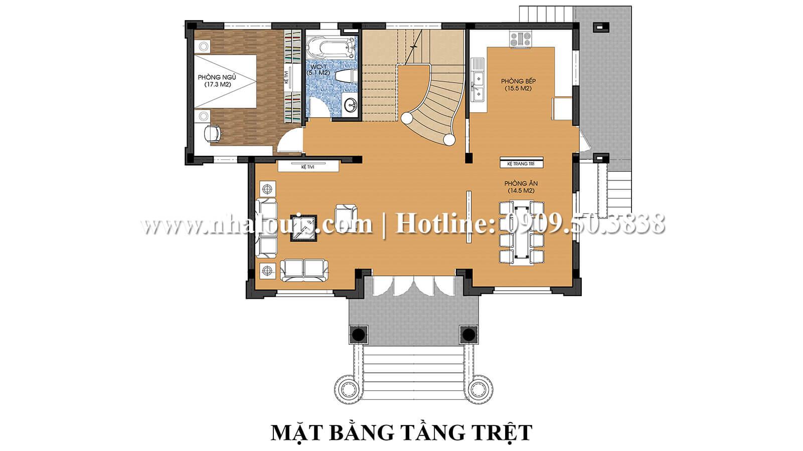Mặt bằng tầng trệt Thiết kế nội thất biệt thự hiện đại đẹp 3 tầng tại Vũng Tàu