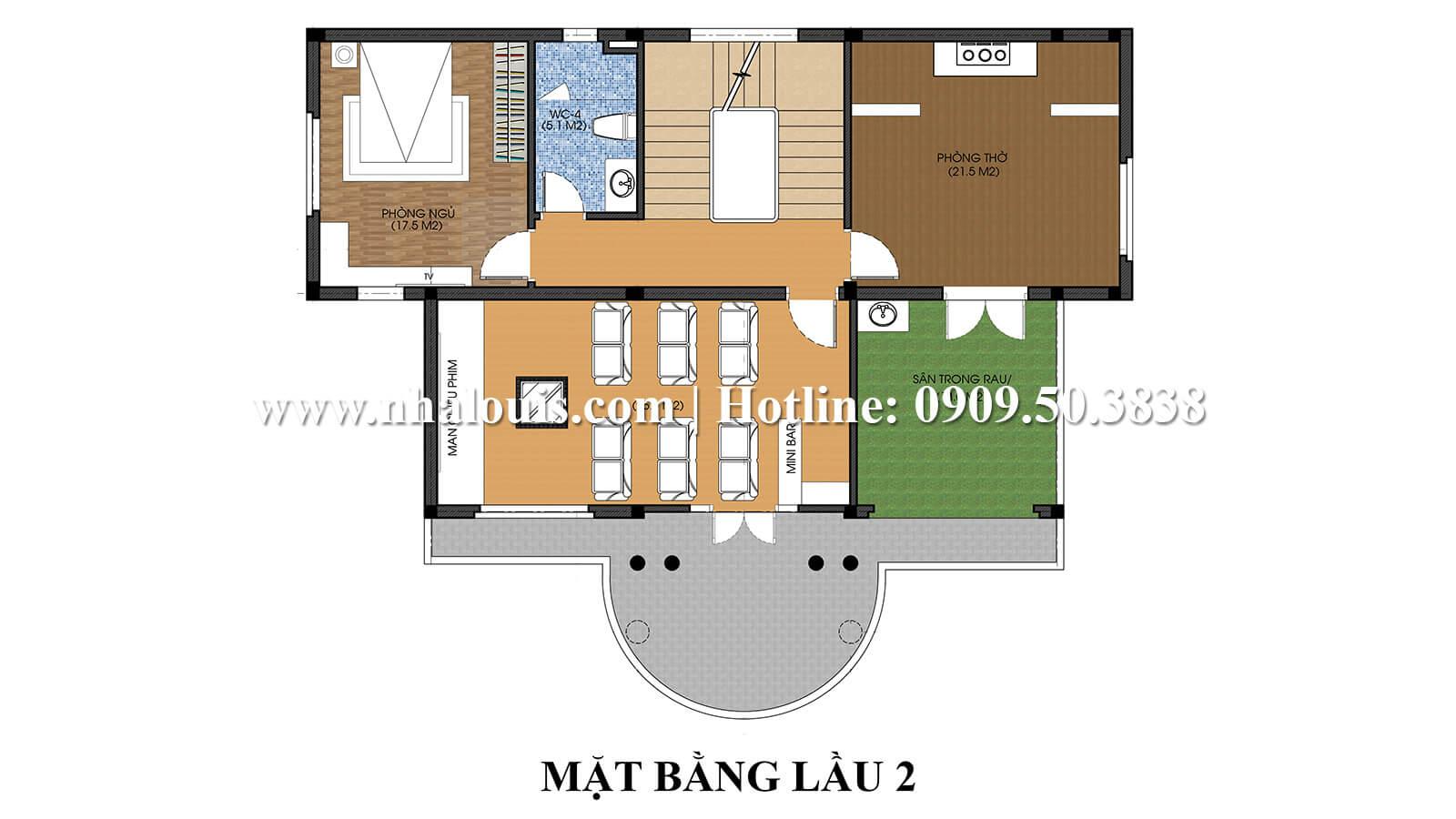 Mặt bằng lầu 2 Thiết kế nội thất biệt thự hiện đại đẹp 3 tầng tại Vũng Tàu