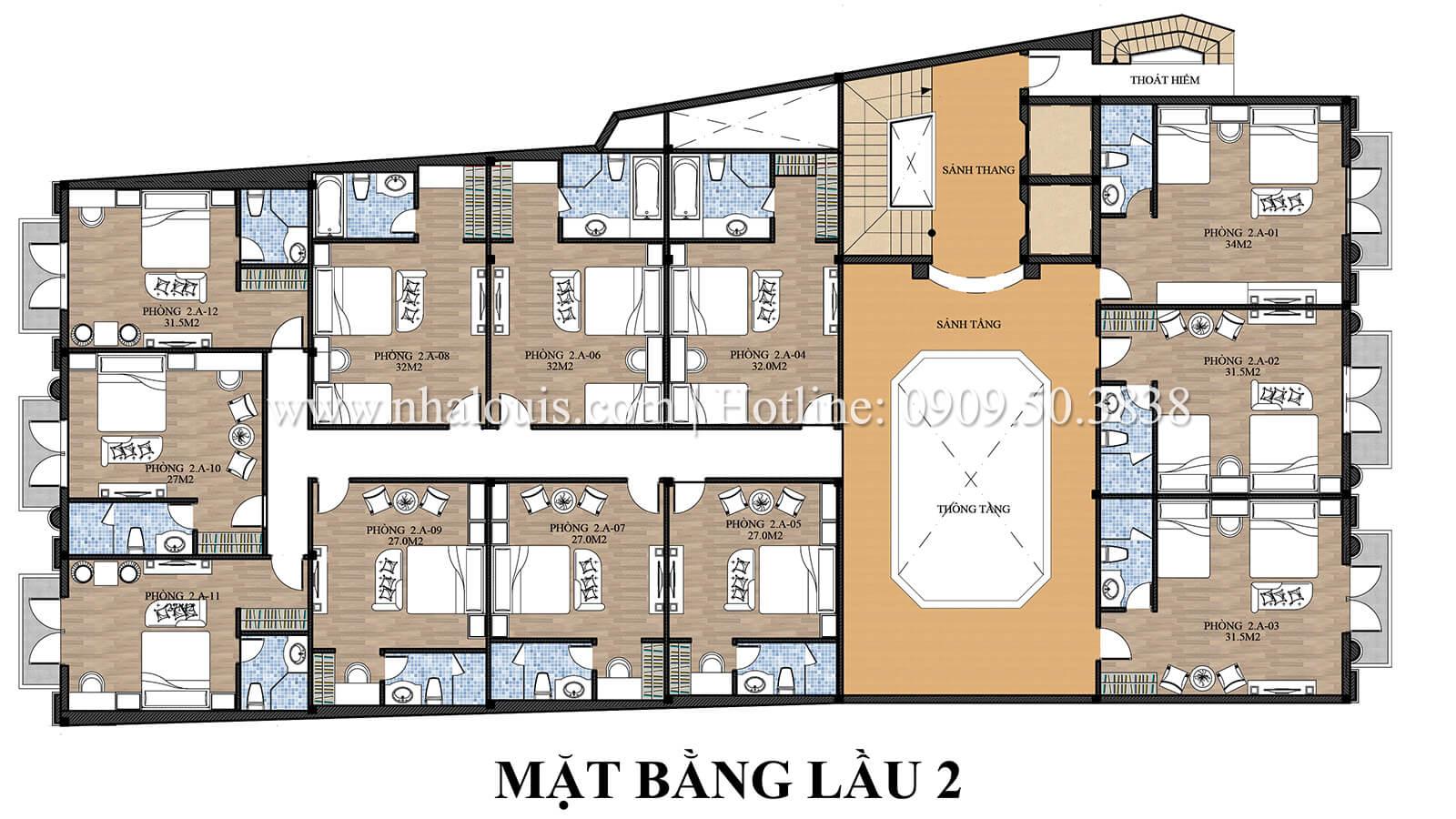 Mặt bằng lầu 2 thiêt kế khách sạn cổ điển kết hợp kinh doanh cafe tại an giang