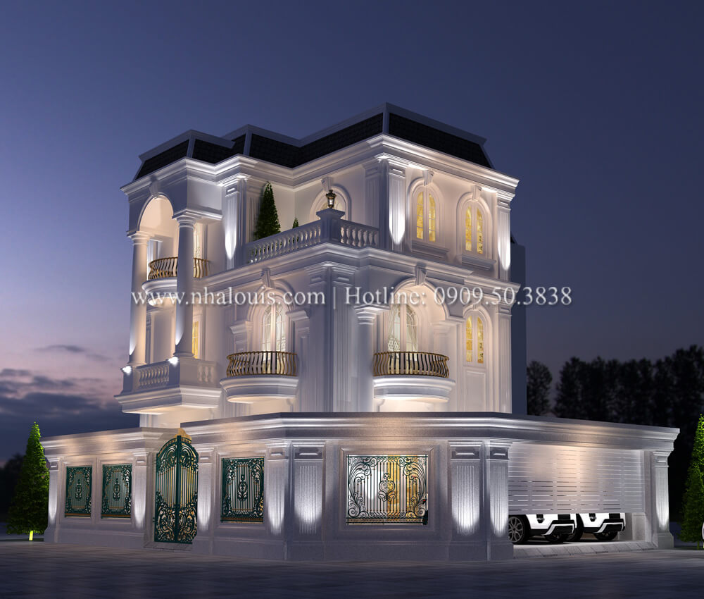 Thiết kế biệt thự 3 tầng tân cổ điển đẹp lộng lẫy tại Bình Dương