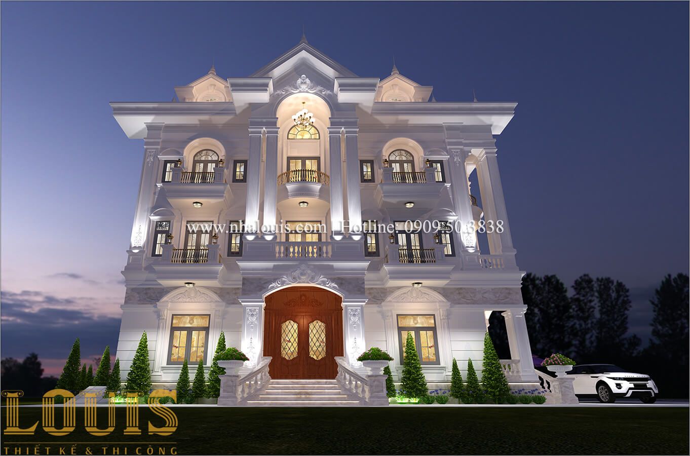 Mặt tiền Thiết kế biệt thự 9x15m cổ điển sang trọng tại Thanh Hóa