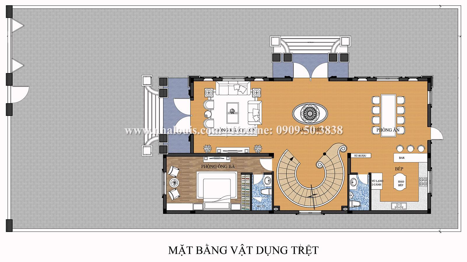 Mặt bằng tầng trệt Thiết kế biệt thự 9x15m cổ điển sang trọng tại Thanh Hóa