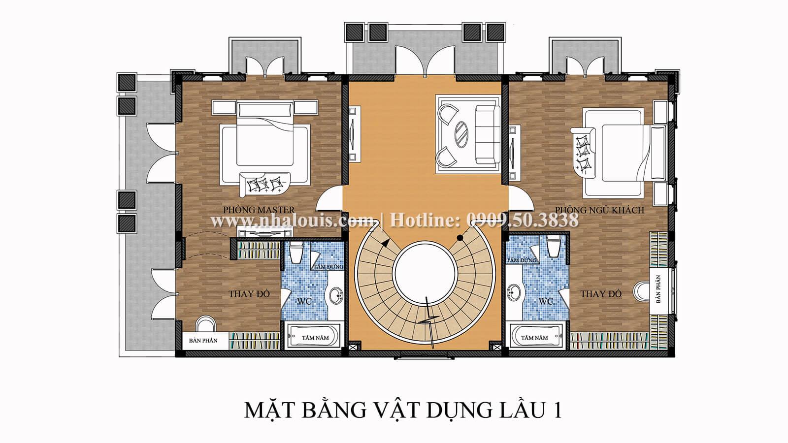 Mặt bằng tầng 1 Thiết kế biệt thự 9x15m cổ điển sang trọng tại Thanh Hóa