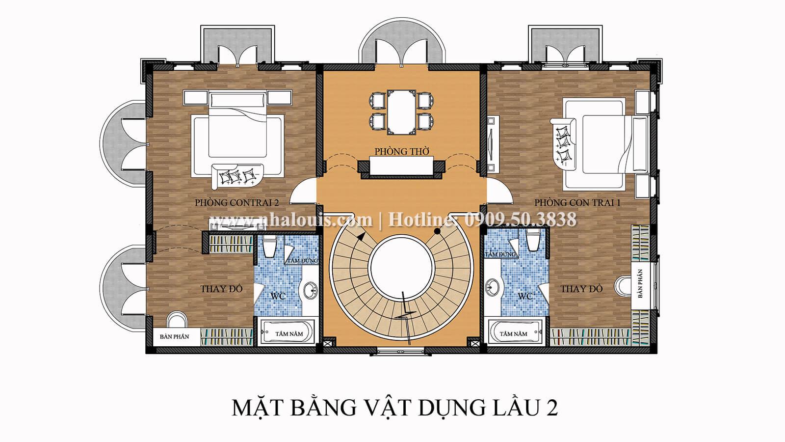 Mặt bằng tầng 2 Thiết kế biệt thự 9x15m cổ điển sang trọng tại Thanh Hóa