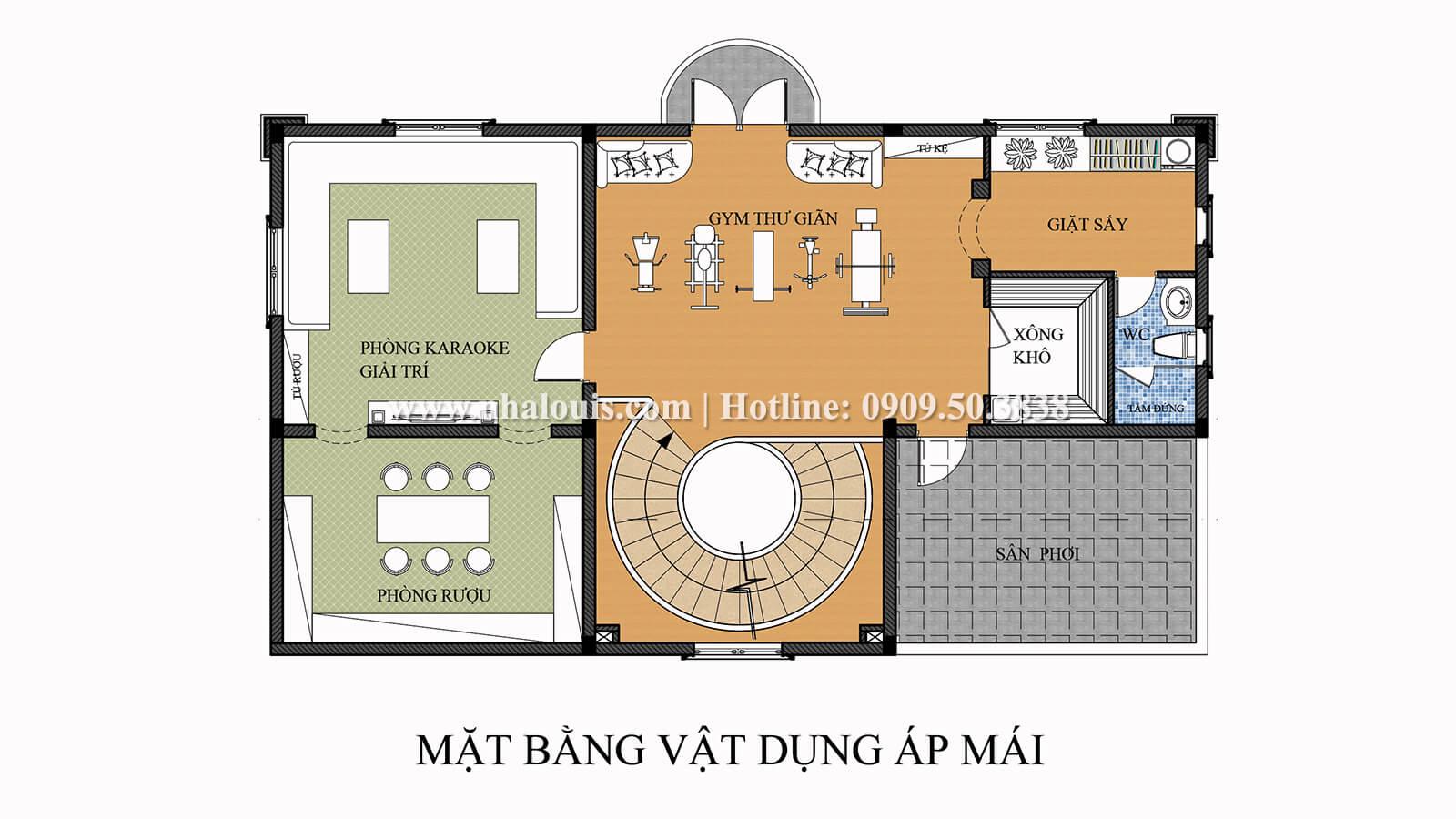 Mặt bằng áp mái Thiết kế biệt thự 9x15m cổ điển sang trọng tại Thanh Hóa