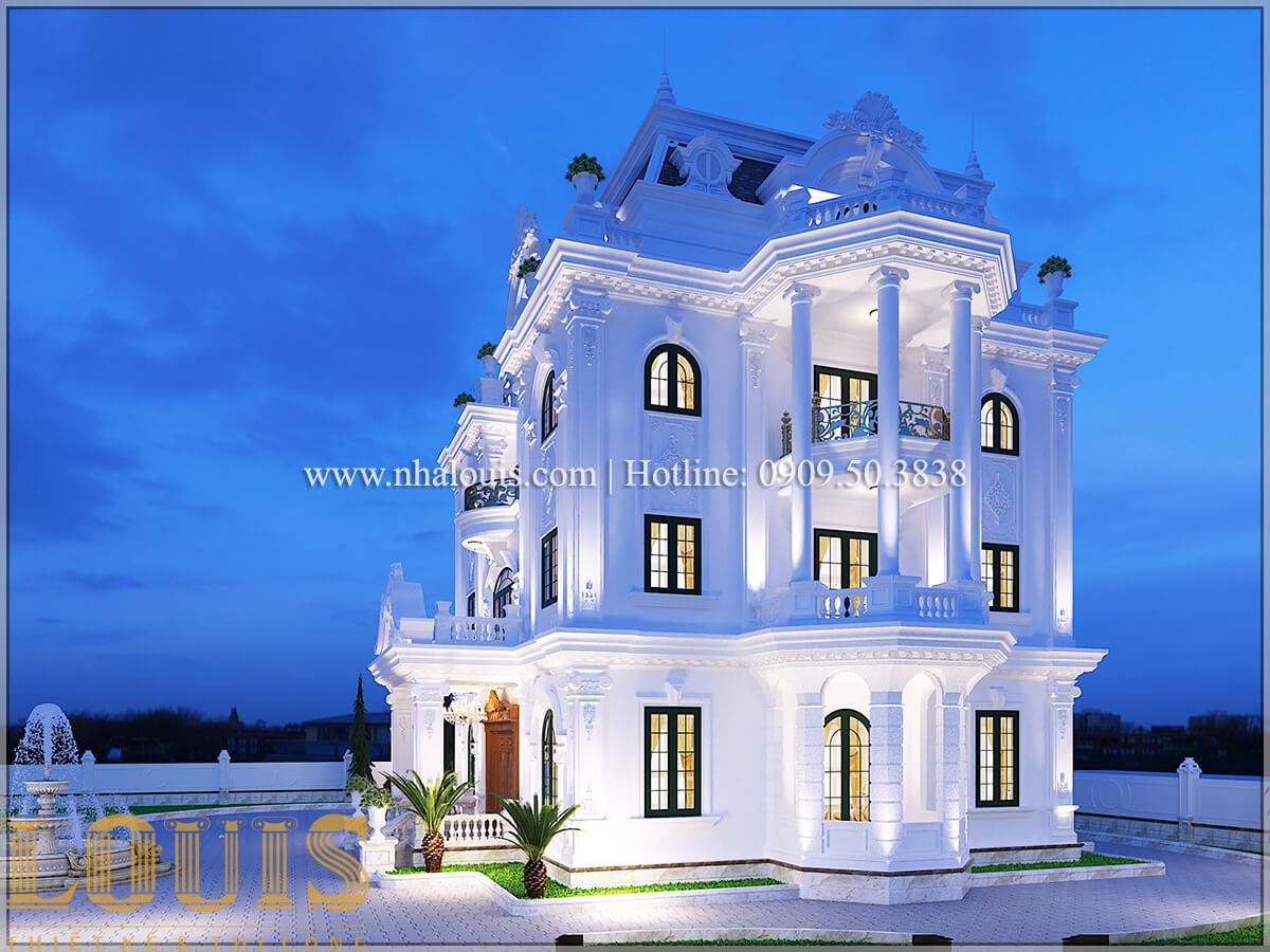 mặt tiền Thiết kế biệt thự châu âu cổ điển 4 tầng đẳng cấp tại Kiên Giang