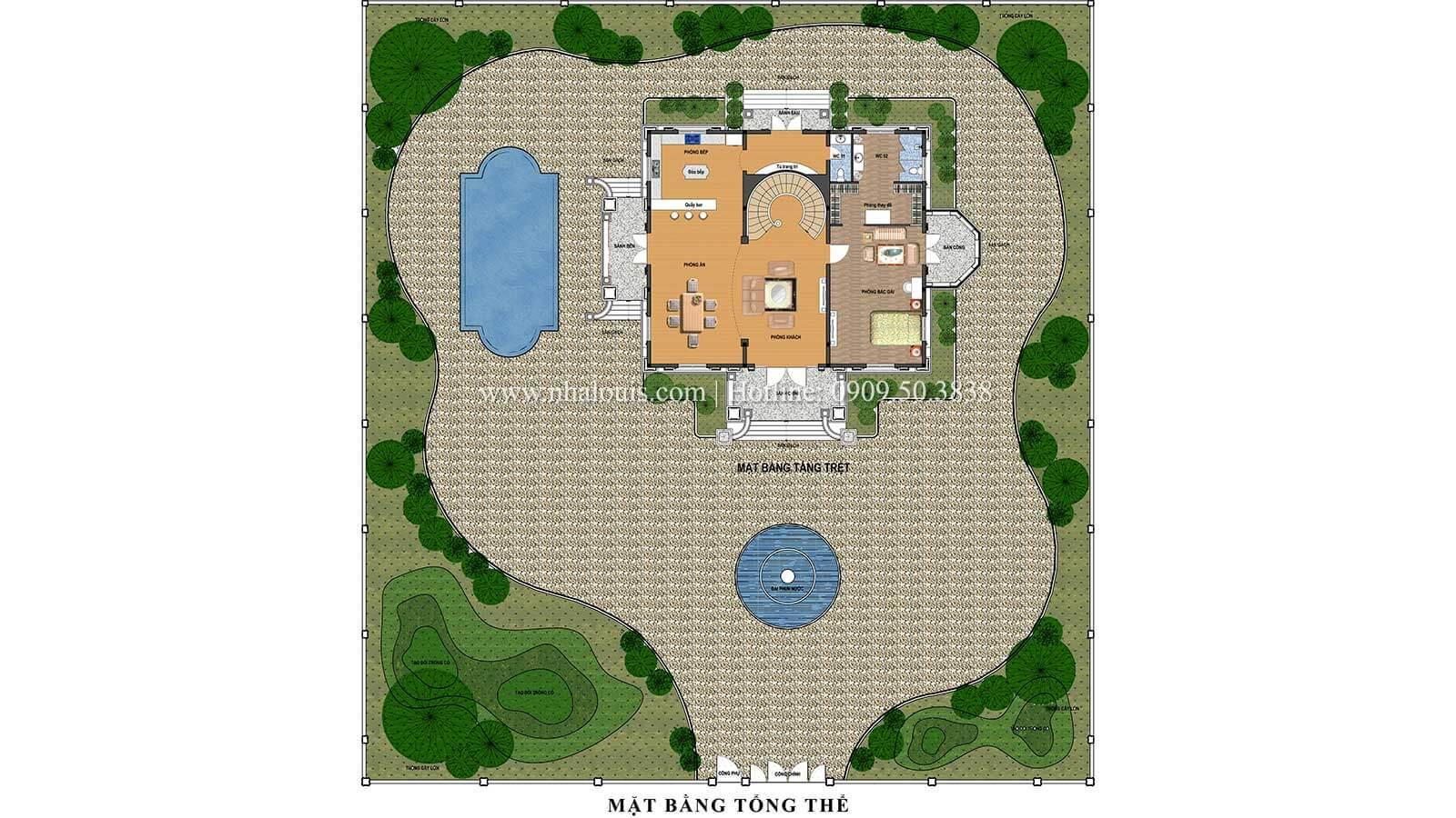 Mặt bằng tổng thể Thiết kế biệt thự châu âu cổ điển 4 tầng đẳng cấp tại Kiên Giang