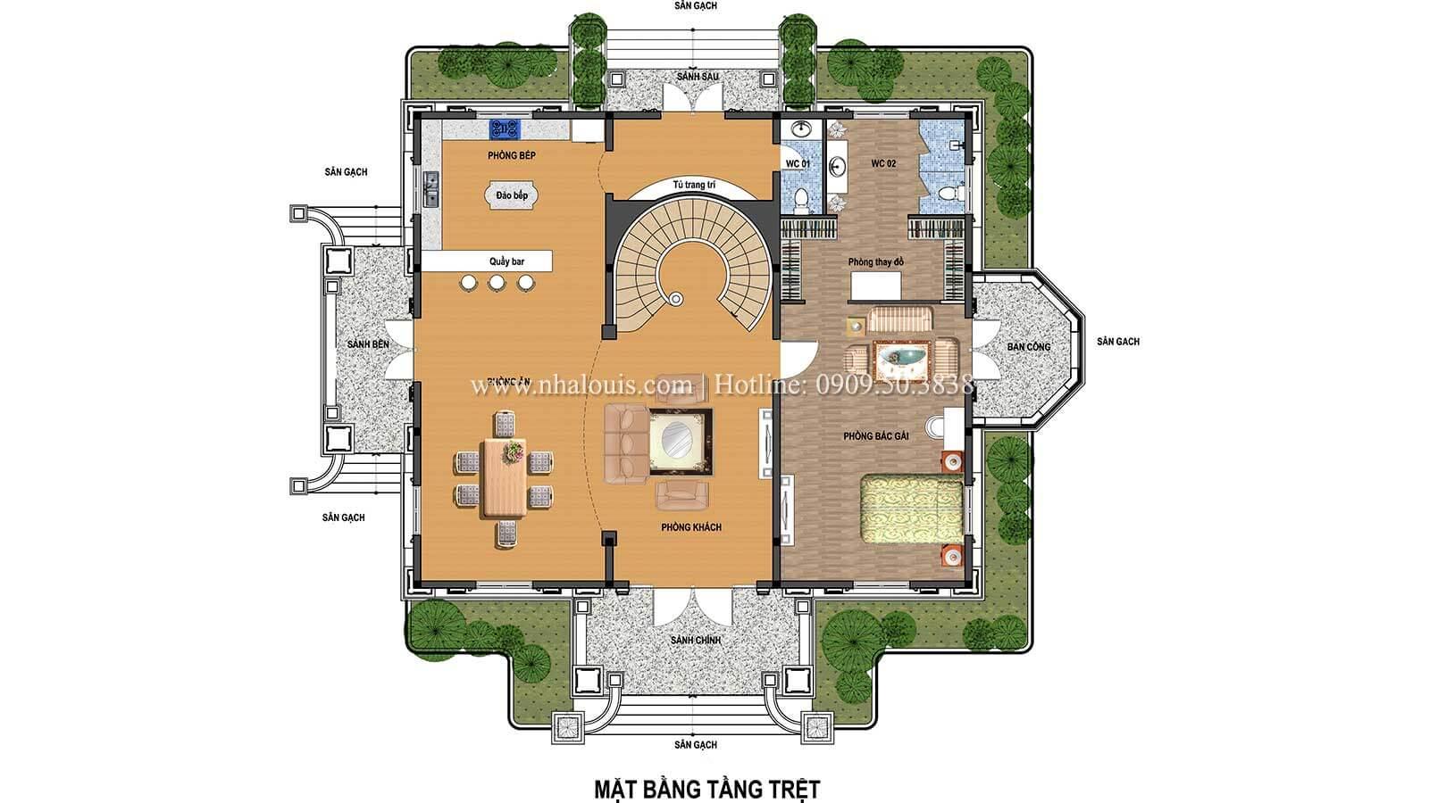 Mặt bằng tầng trệt Thiết kế biệt thự châu âu cổ điển 4 tầng đẳng cấp tại Kiên Giang