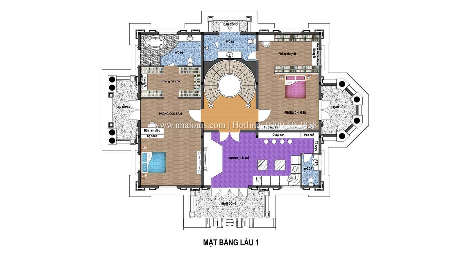 Mặt bằng tầng 1 Thiết kế biệt thự châu âu cổ điển 4 tầng đẳng cấp tại Kiên Giang