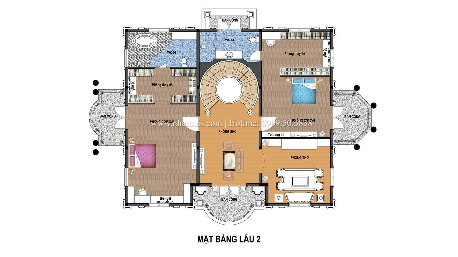 Mặt bằng tầng 2 Thiết kế biệt thự châu âu cổ điển 4 tầng đẳng cấp tại Kiên Giang