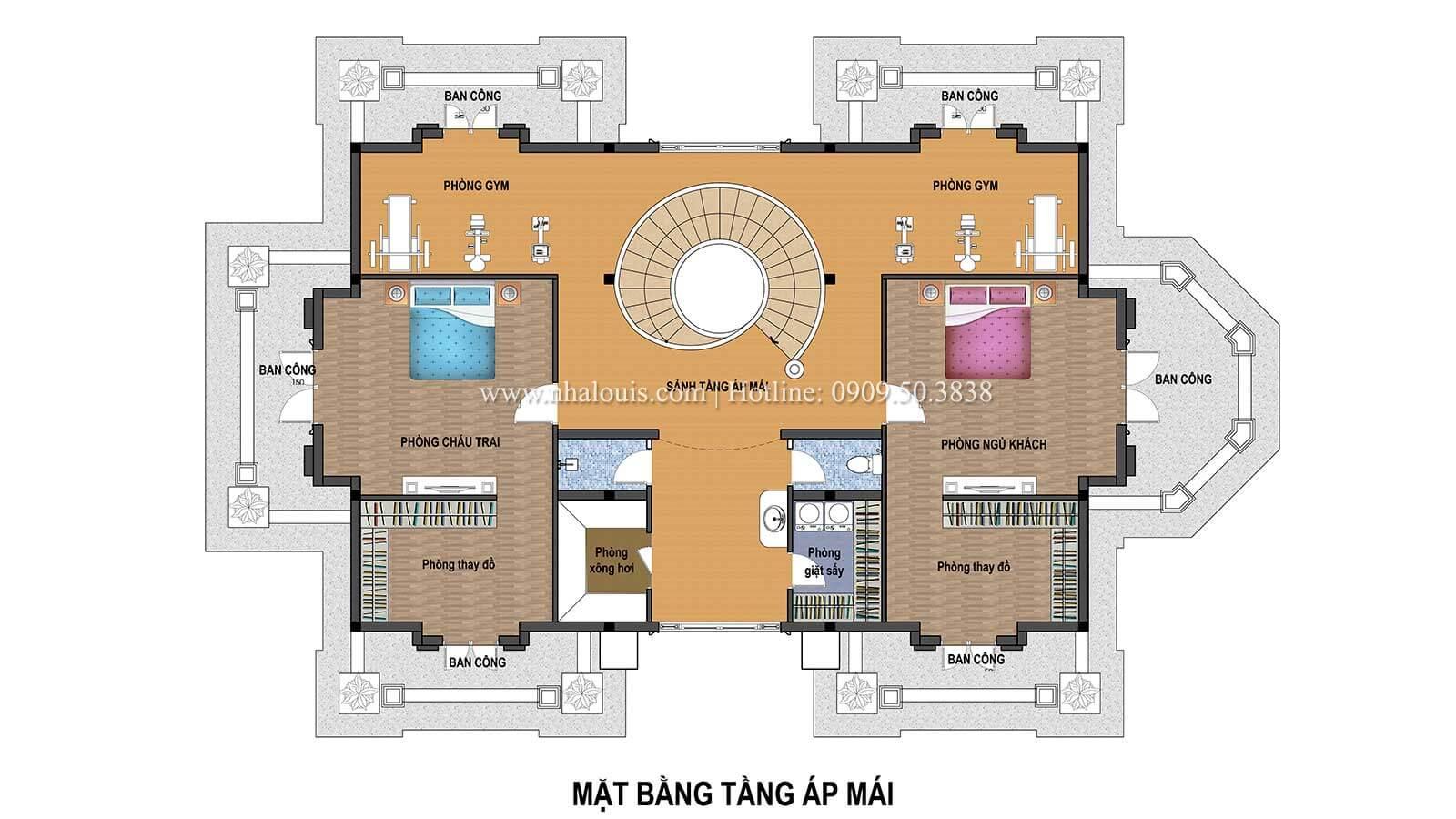 Mặt bằng tầng áp mái Thiết kế biệt thự châu âu cổ điển 4 tầng đẳng cấp tại Kiên Giang