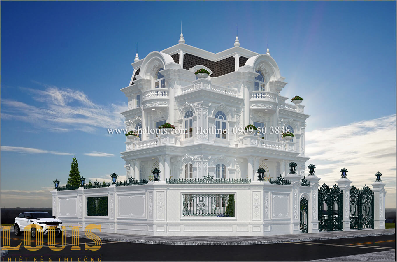 Mặt tiền mẫu biệt thự 3 tầng kiểu Pháp với hệ mái Mansard
