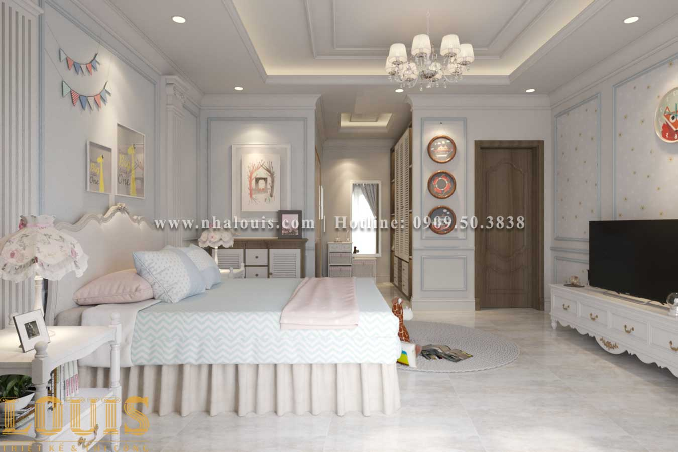 Phòng ngủ - Thiết kế biệt thự 3 tầng tân cổ điển đẹp lộng lẫy tại Bình Dương