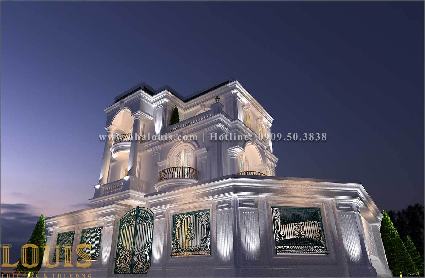 Mặt tiền Thiết kế biệt thự 3 tầng tân cổ điển đẹp lộng lẫy tại Bình Dương