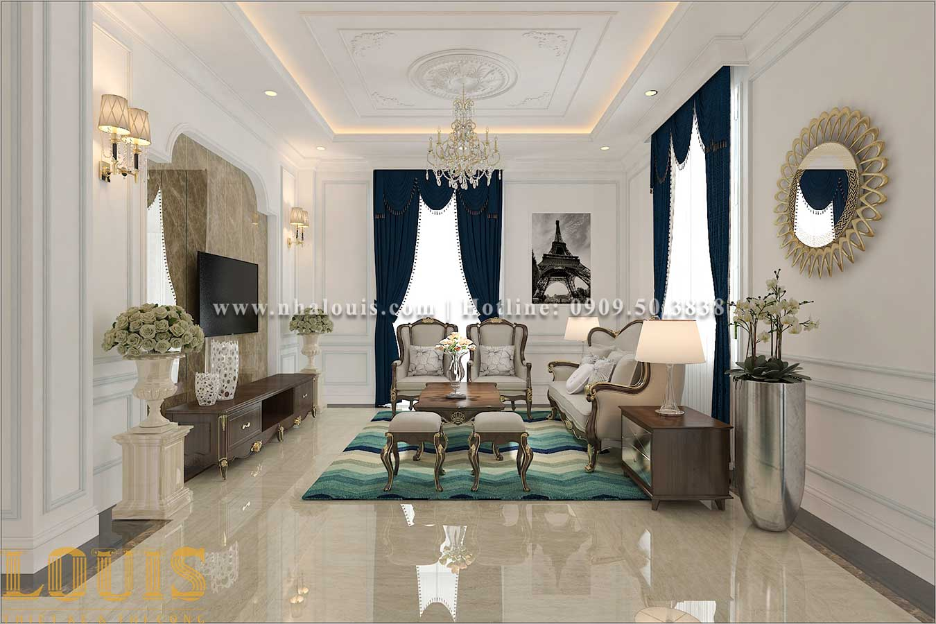 Phòng khách Thiết kế biệt thự 3 tầng tân cổ điển đẹp lộng lẫy tại Bình Dương