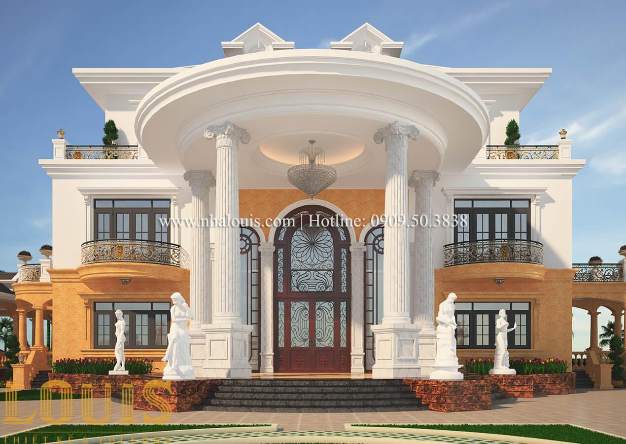 Mặt tiền Thiết kế biệt thự vườn 3 tầng tân cổ điển đẹp tại Tiền Giang
