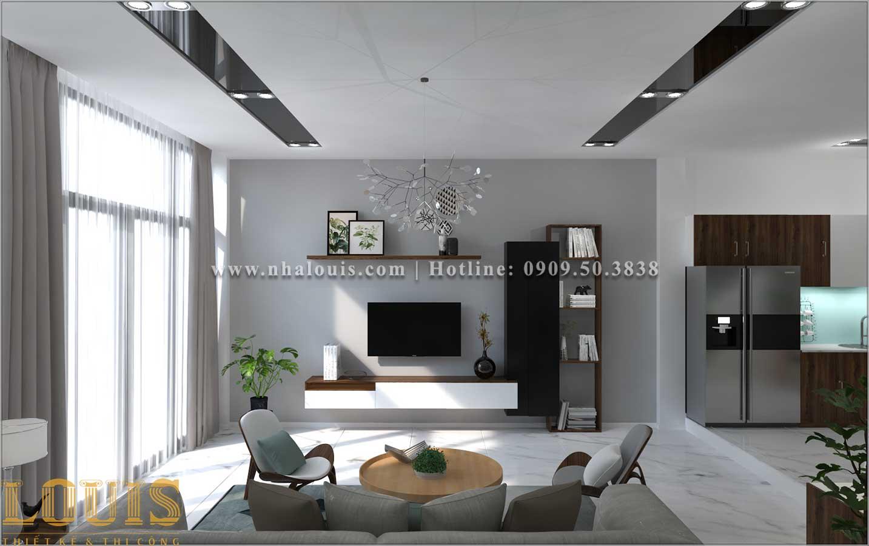 Phòng khách Thiết kế nhà ống 2 tầng 1 tum đẹp theo xu hướng mới 2018 tại Long An