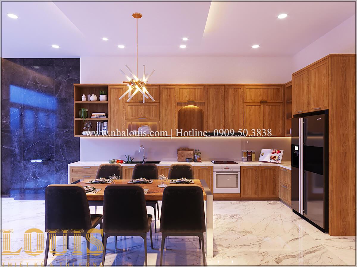 Bếp và phòng ăn Thiết kế nhà ống 3 tầng mặt tiền 5m đầy đủ tiện nghi tại Bến Tre