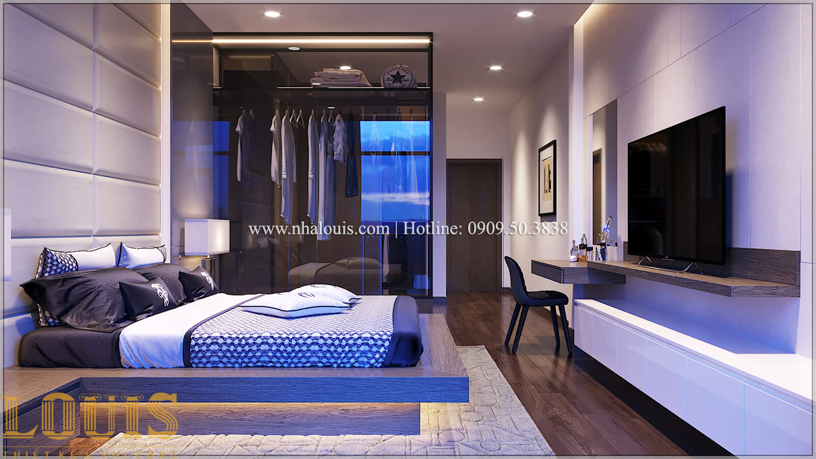 Phòng ngủ Thiết kế nhà ống 3 tầng mặt tiền 5m đầy đủ tiện nghi tại Bến Tre