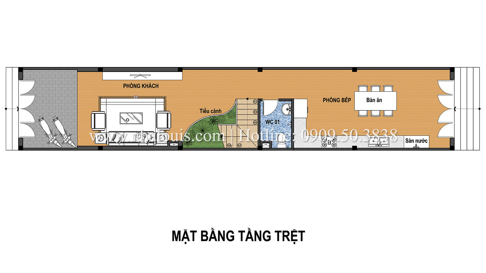 Mặt bằng tầng trệt Thiết kế nhà ống 3 tầng mặt tiền 5m đầy đủ tiện nghi tại Bến Tre