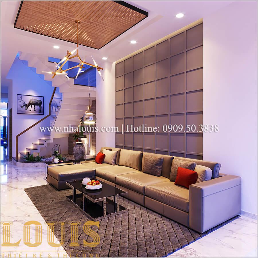 Phòng khách Thiết kế nhà ống 3 tầng mặt tiền 5m đầy đủ tiện nghi tại Bến Tre