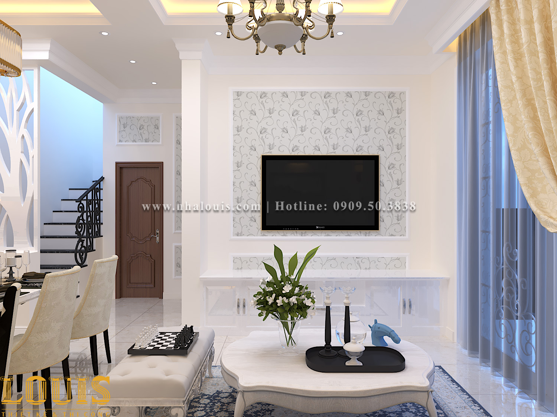 Phòng khách Thiết kế nhà ống tân cổ điển 4 tầng đầy đủ tiện nghi tại Gò Vấp