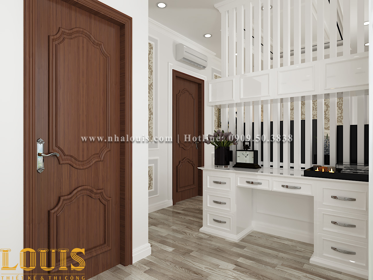 Phòng ngủ Thiết kế nhà ống tân cổ điển 4 tầng đầy đủ tiện nghi tại Gò Vấp