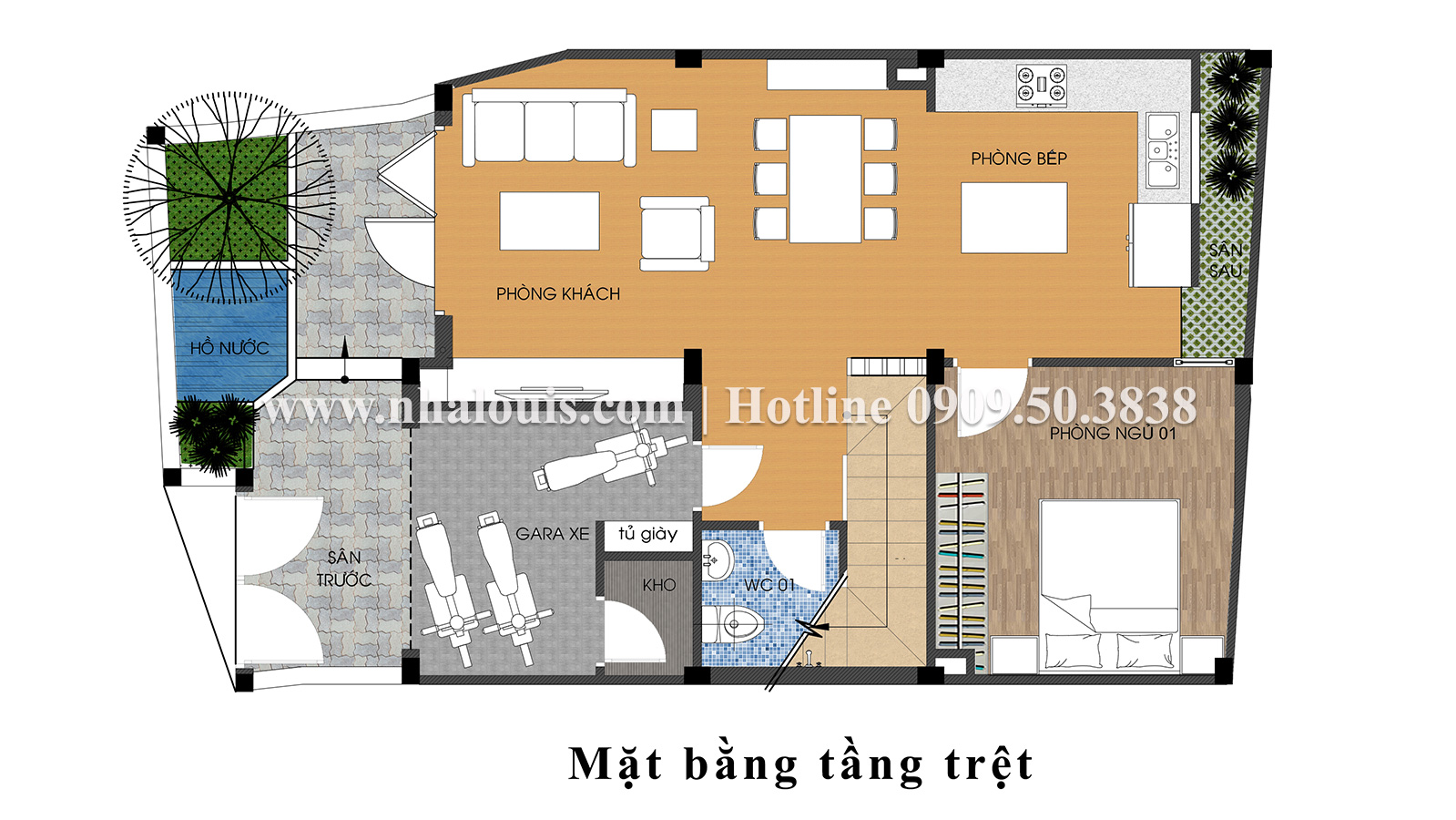 Mặt bằng tầng trệt Thiết kế nhà ống tân cổ điển 4 tầng đầy đủ tiện nghi tại Gò Vấp