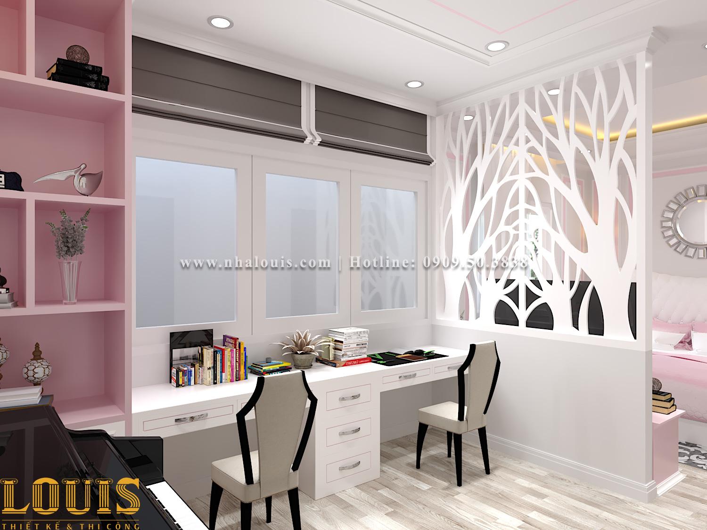 Phòng ngủ con gái Thiết kế nhà ống tân cổ điển 4 tầng đầy đủ tiện nghi tại Gò Vấp