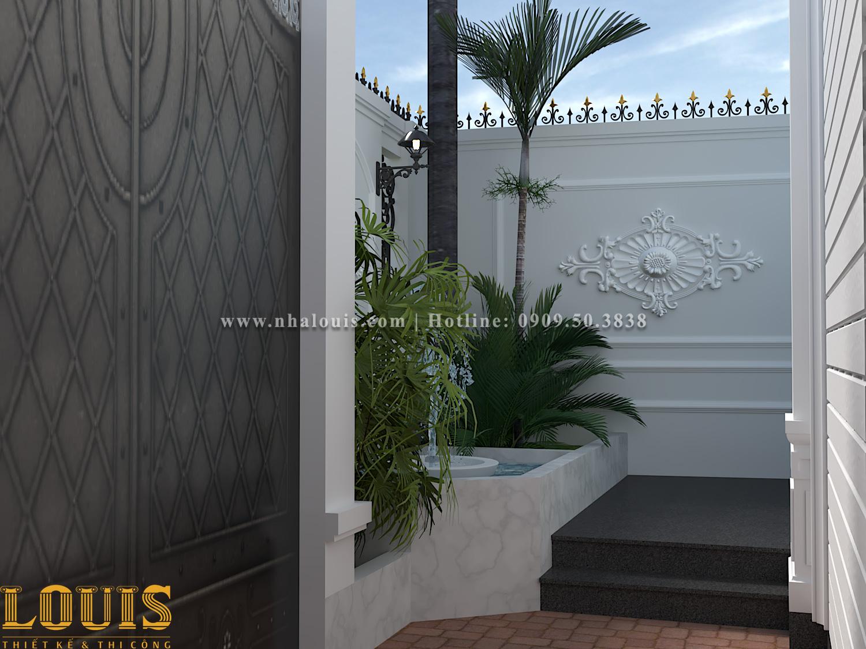 Sân vườn Thiết kế nhà ống tân cổ điển 4 tầng đầy đủ tiện nghi tại Gò Vấp