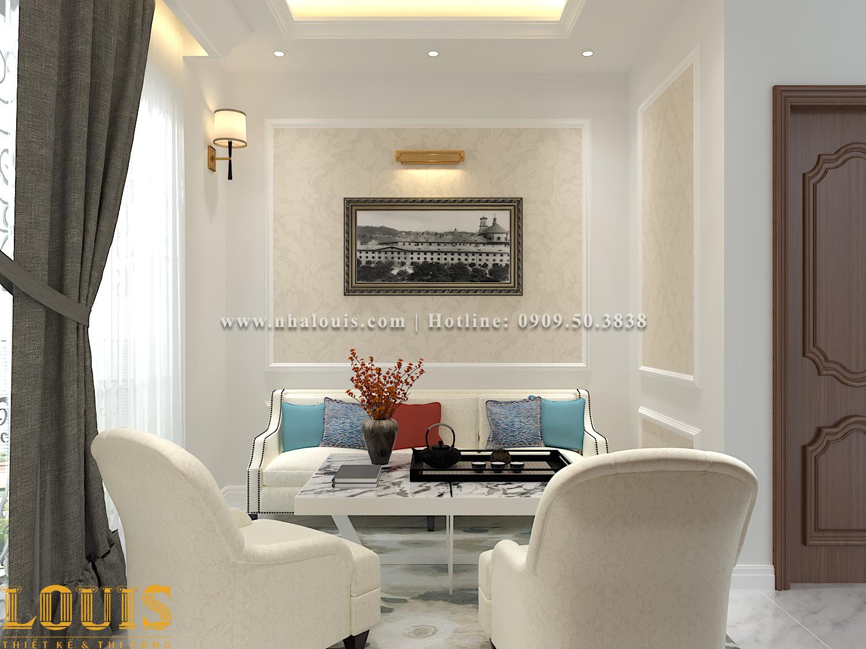Phòng sinh hoạt chung Thiết kế nhà ống tân cổ điển 4 tầng đầy đủ tiện nghi tại Gò Vấp