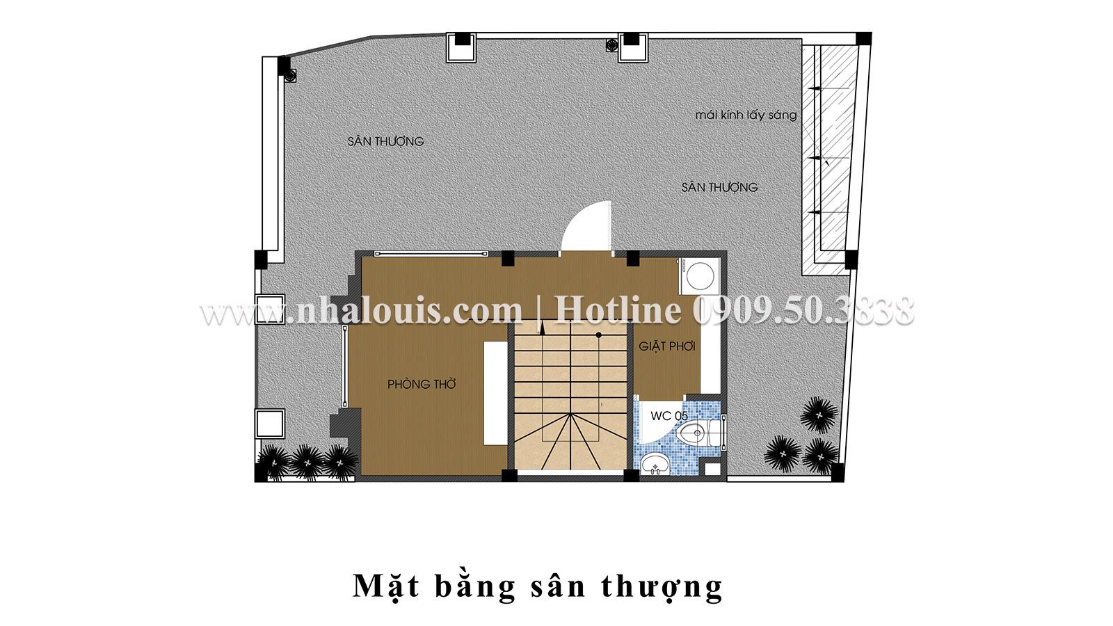 Mặt bằng Sân thượng Thiết kế nhà ống tân cổ điển 4 tầng đầy đủ tiện nghi tại Gò Vấp