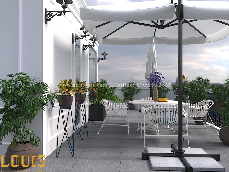 Sân thượng Thiết kế nhà ống tân cổ điển 4 tầng đầy đủ tiện nghi tại Gò Vấp