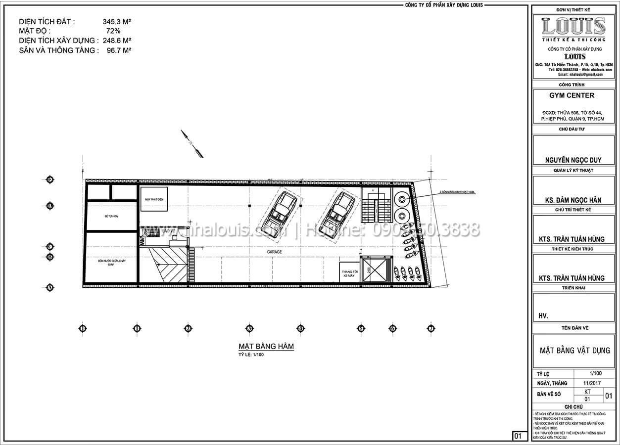 Mặt bằng tầng hầm Thiết kế phòng tập gym hiện đại với quy mô khủng tại Quận 9 - 21