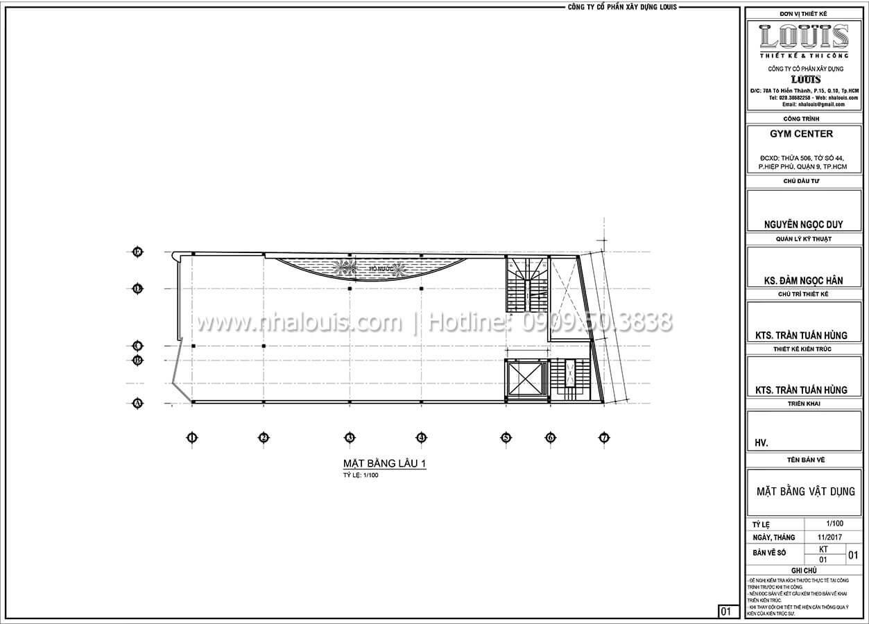 Mặt bằng tầng 1 Thiết kế phòng tập gym hiện đại với quy mô khủng tại Quận 9 - 24