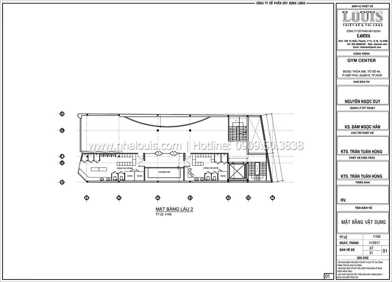 Mặt bằng tầng 2 Thiết kế phòng tập gym hiện đại với quy mô khủng tại Quận 9 - 25