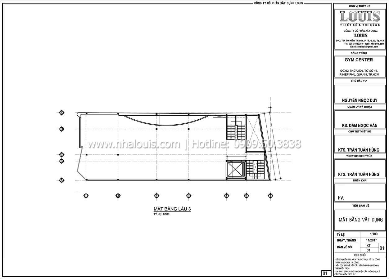 Mặt bằng tầng 3 Thiết kế phòng tập gym hiện đại với quy mô khủng tại Quận 9 - 26