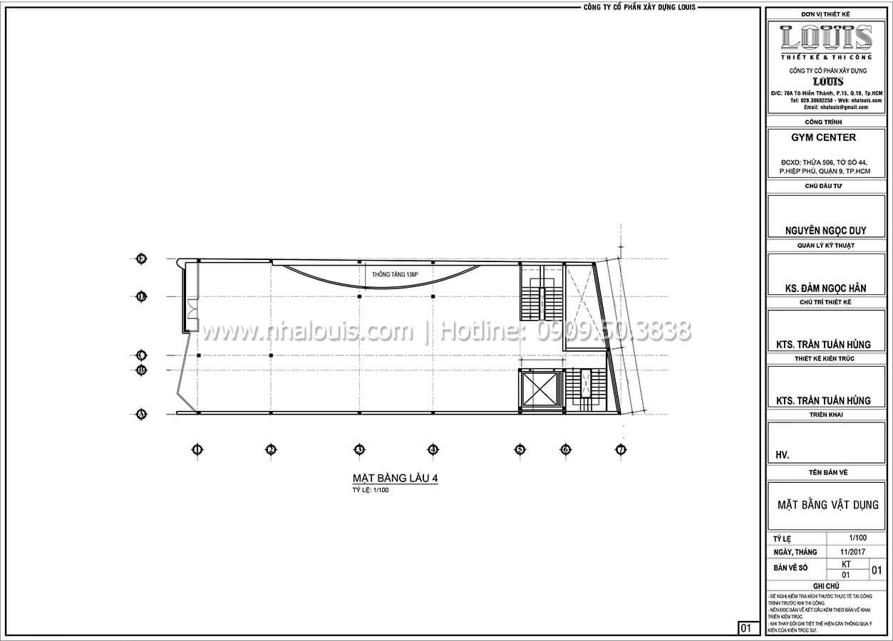 Mặt bằng tầng 4 Thiết kế phòng tập gym hiện đại với quy mô khủng tại Quận 9 - 27