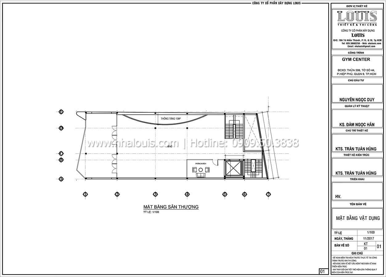 Mặt bằng tầng thượng Thiết kế phòng tập gym hiện đại với quy mô khủng tại Quận 9 - 28
