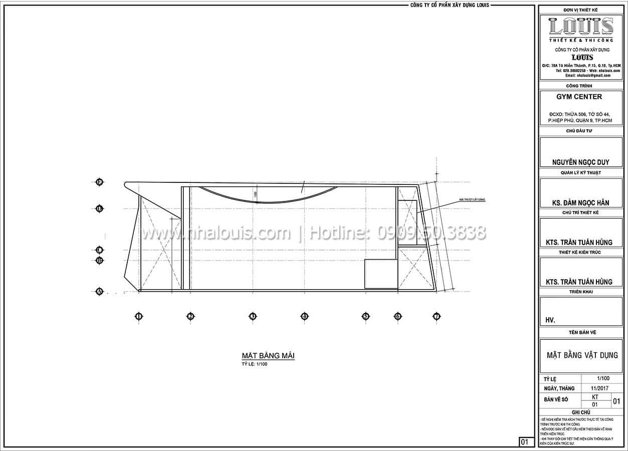 Mặt bằng tầng mái Thiết kế phòng tập gym hiện đại với quy mô khủng tại Quận 9 - 29