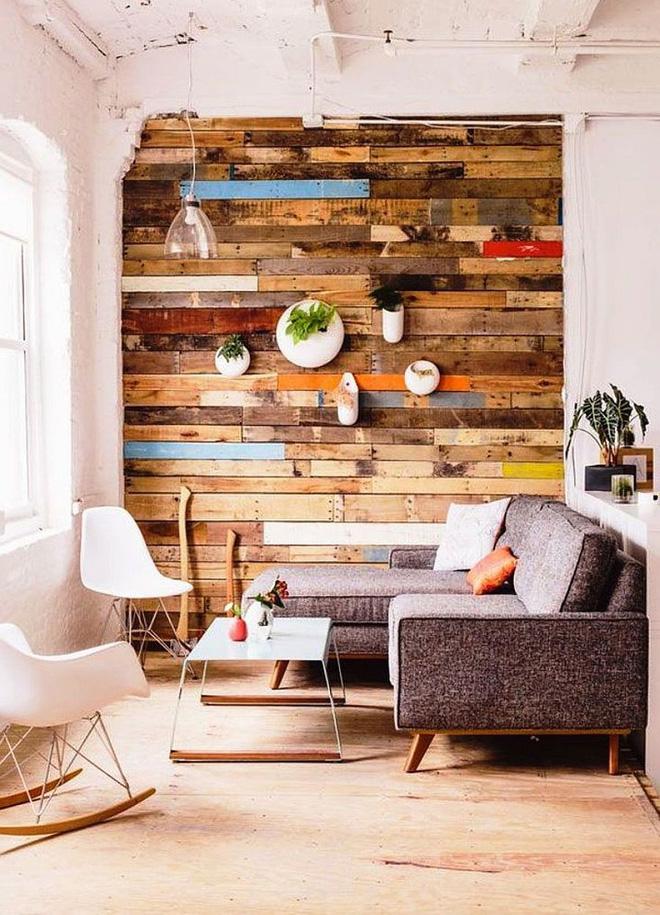 Bố trí không gian phòng khách đẹp cùng tường gỗ ấn tượng