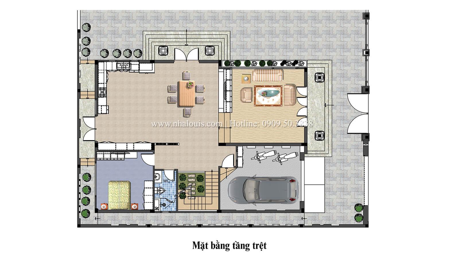 Mặt bằng tầng trệt nhà 2 tầng hiện đại mái thái