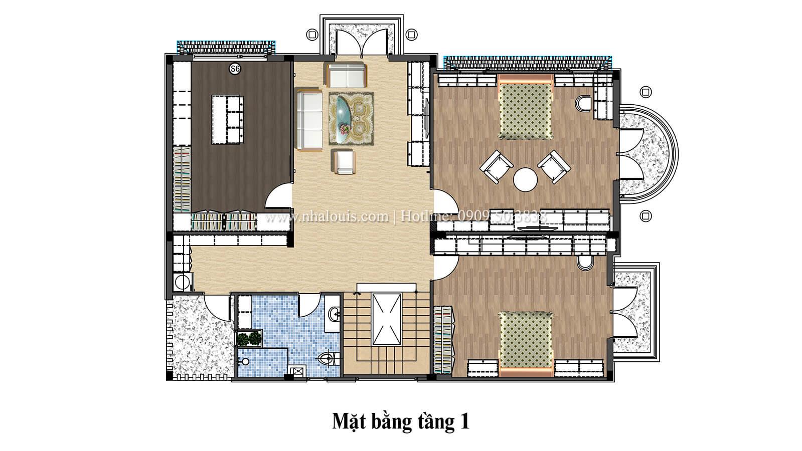 Mặt bằng tầng 1 nhà 2 tầng hiện đại mái thái