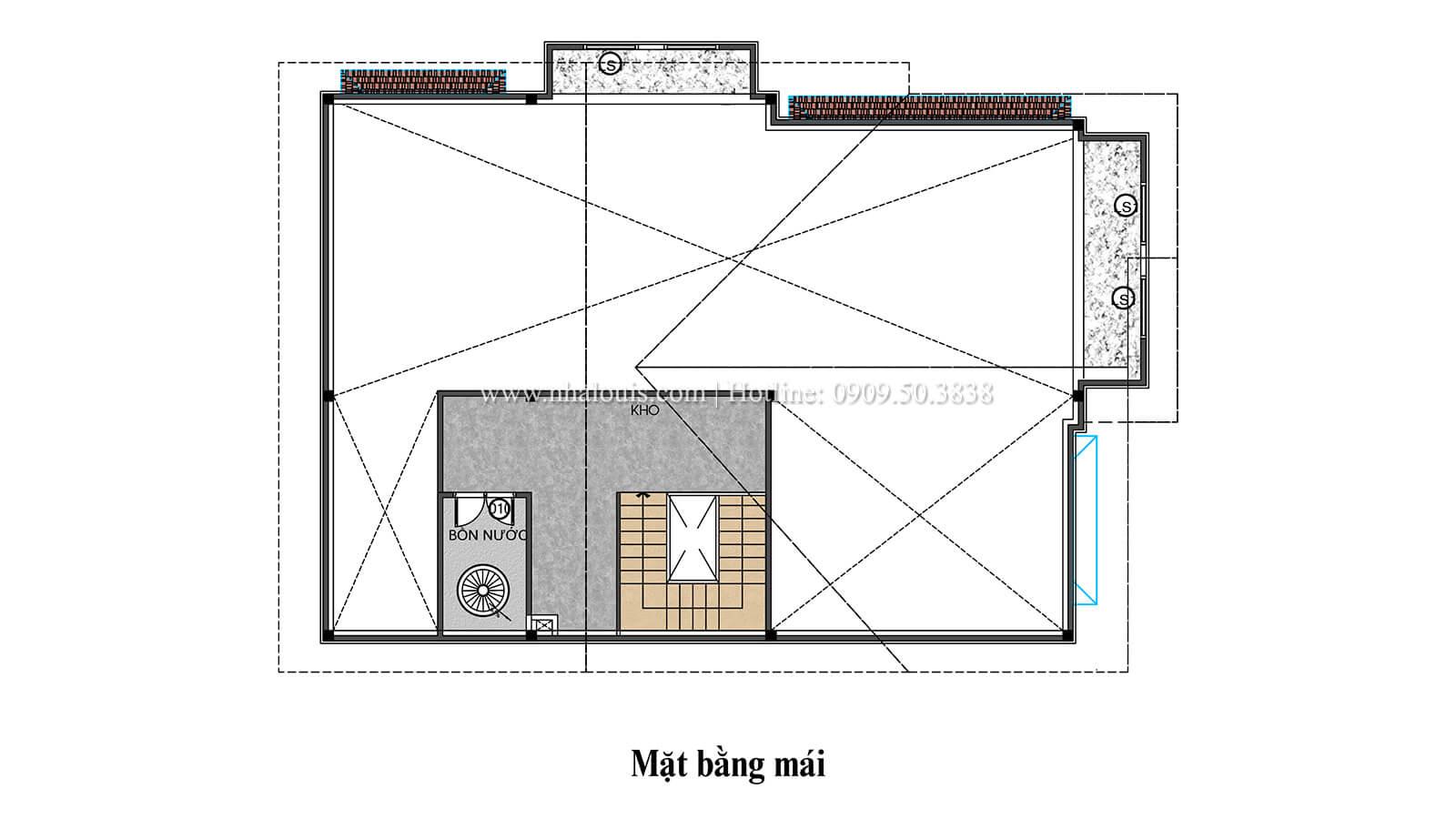 Mặt bằng tầng mái Biệt thự 1 trệt 1 lầu phong cách hiện đại 45