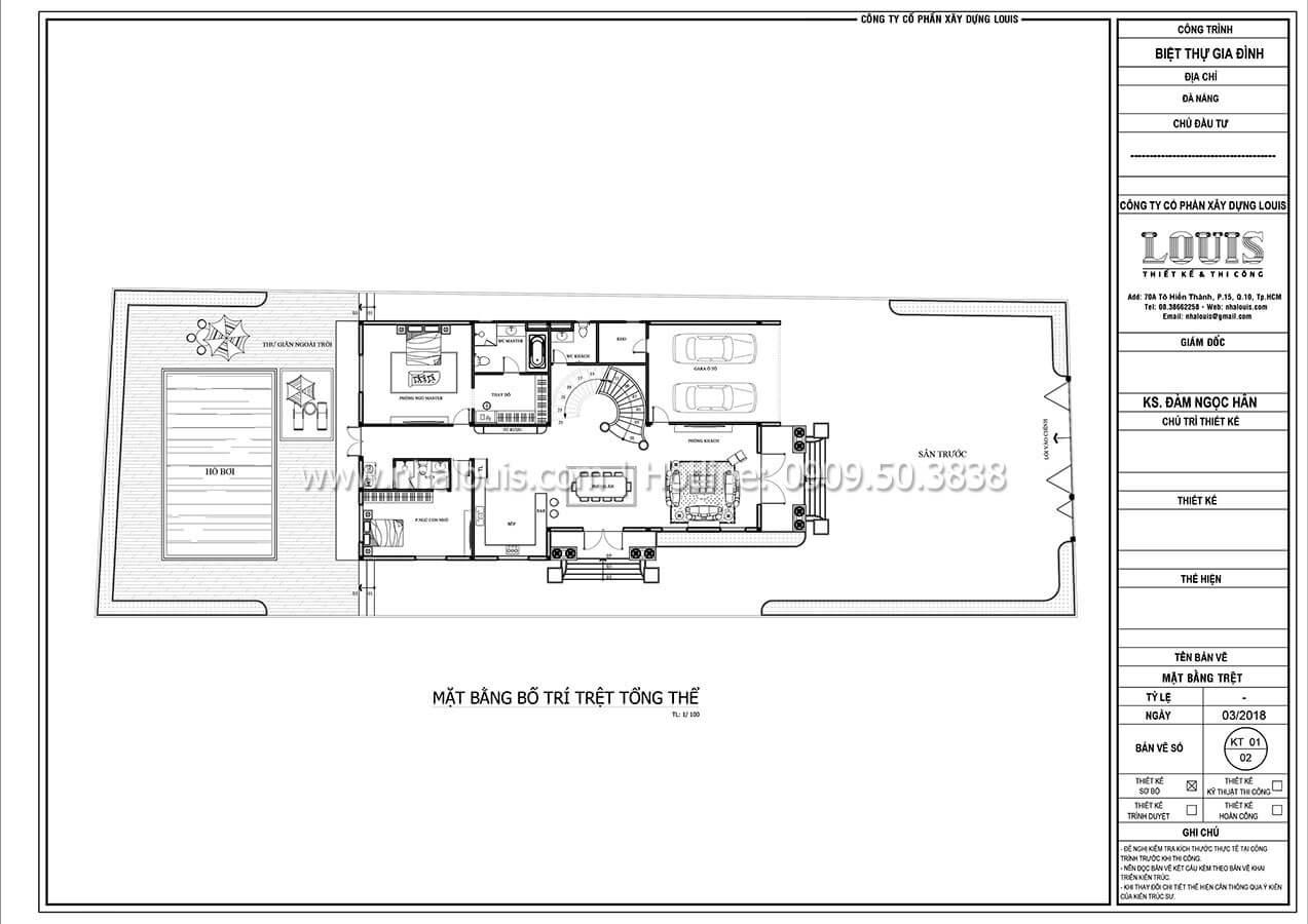 Mặt bằng tầng trệt Biệt thự 2 tầng tân cổ điển đẳng cấp thượng lưu tại Bình Chánh - 08