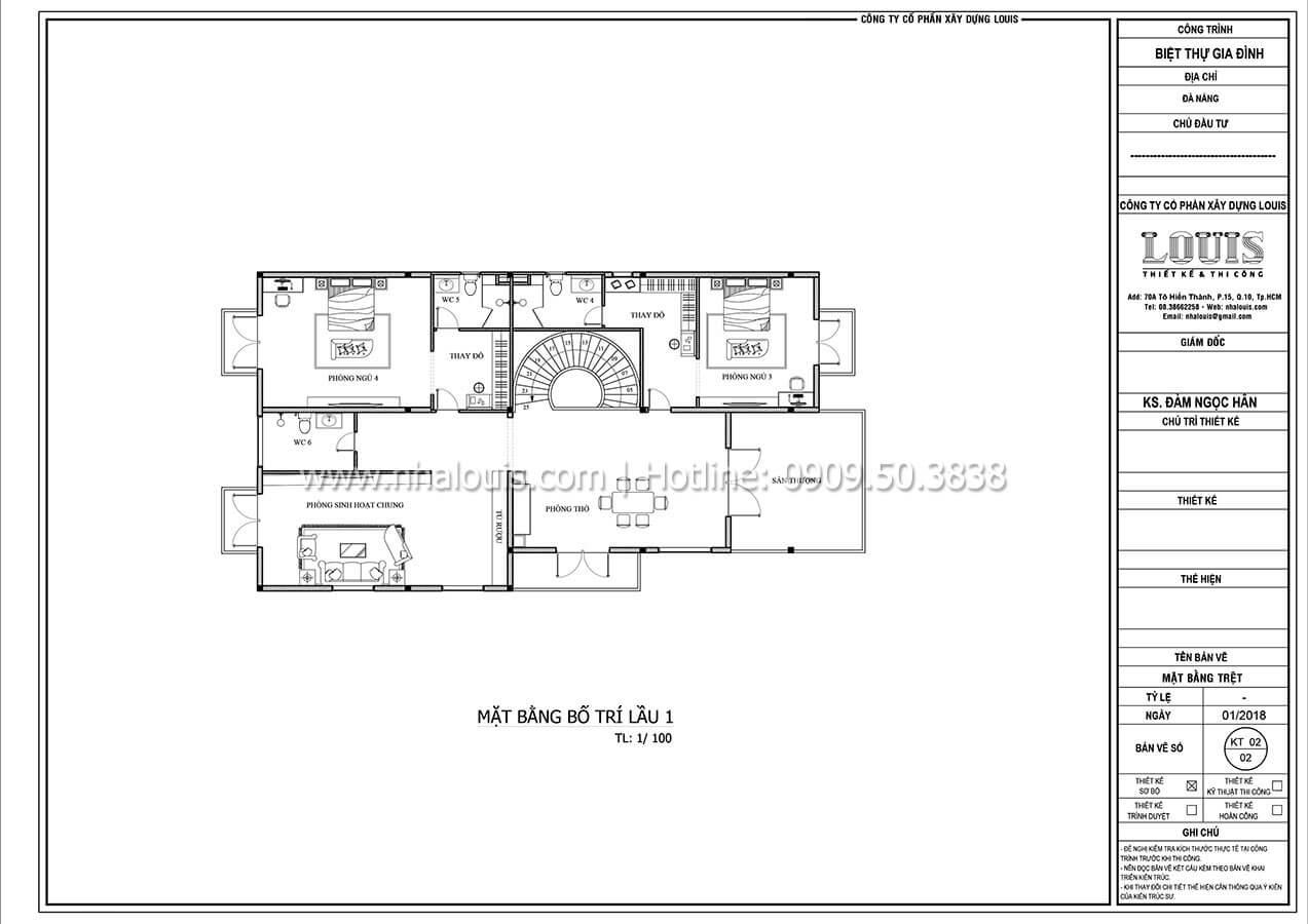 Mặt bằng tầng 1 Biệt thự 2 tầng tân cổ điển đẳng cấp thượng lưu tại Bình Chánh - 09