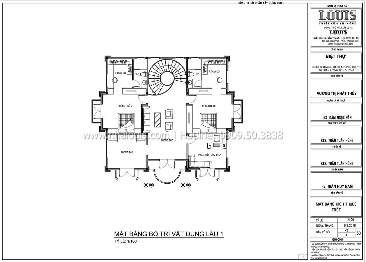 Mặt bằng tầng 1 Biệt thự 3 tầng có tầng hầm với phong cách tân cổ điển tại Bình Dương - 05