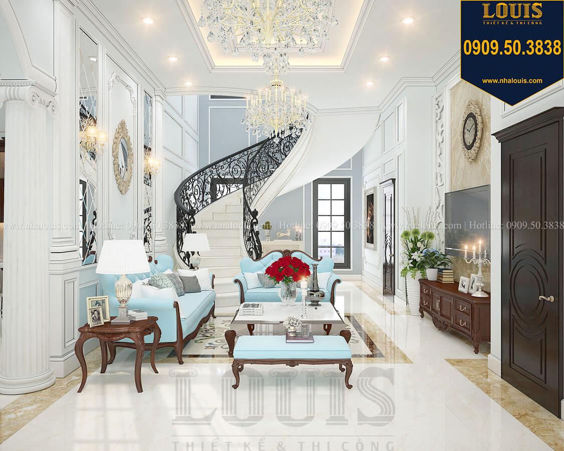 Phòng khách Biệt thự 3 tầng có tầng hầm với phong cách tân cổ điển tại Bình Dương - 07