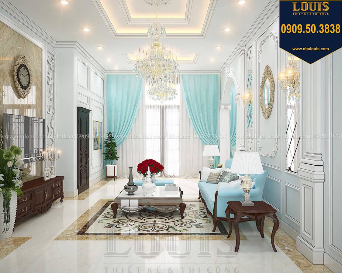 Phòng khách Biệt thự 3 tầng có tầng hầm với phong cách tân cổ điển tại Bình Dương - 08