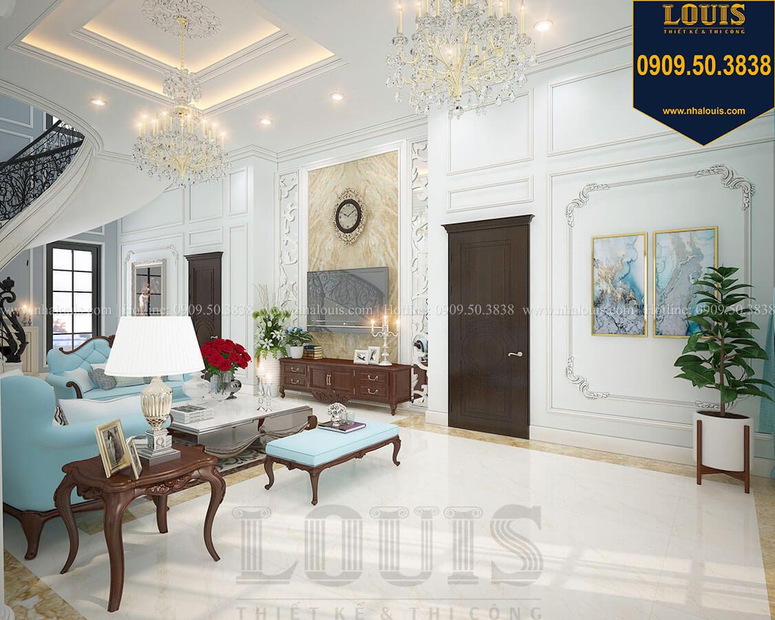 Phòng khách Biệt thự 3 tầng có tầng hầm với phong cách tân cổ điển tại Bình Dương - 09